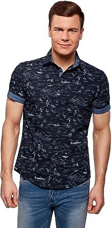 oodji Ultra Hombre Camisa Estampada de Algodón