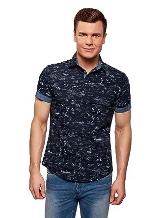 oodji Ultra Hombre Camisa Estampada de Algodón: Amazon.es: Ropa y ...