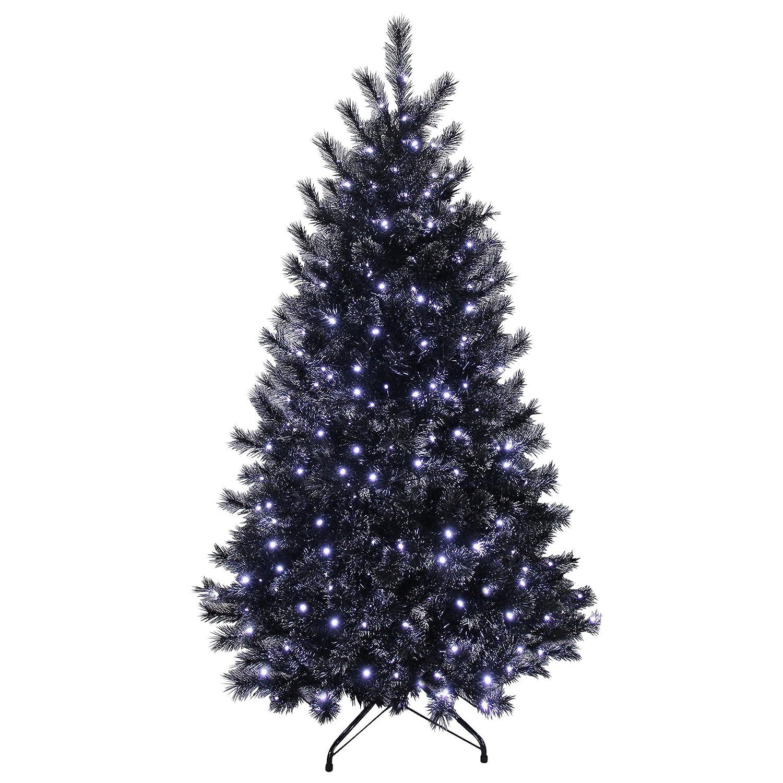 5ft Black Glitter Pine Artificial Prelit Bright White Lights Christmas Xmas Tree