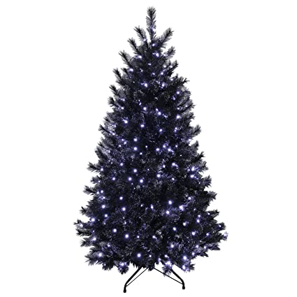 5ft Black Glitter Pine Artificial Prelit Bright White Lights