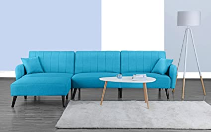 Divano Roma Furniture Mid Century Modern Style Linen Fabric Sleeper Futon  Sofa, Living Room L