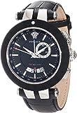 Versace Men's 29G9S9D009 S009 V-Race Black Rubber Bezel Dual-Time Black Leather Strap Big Date Watch