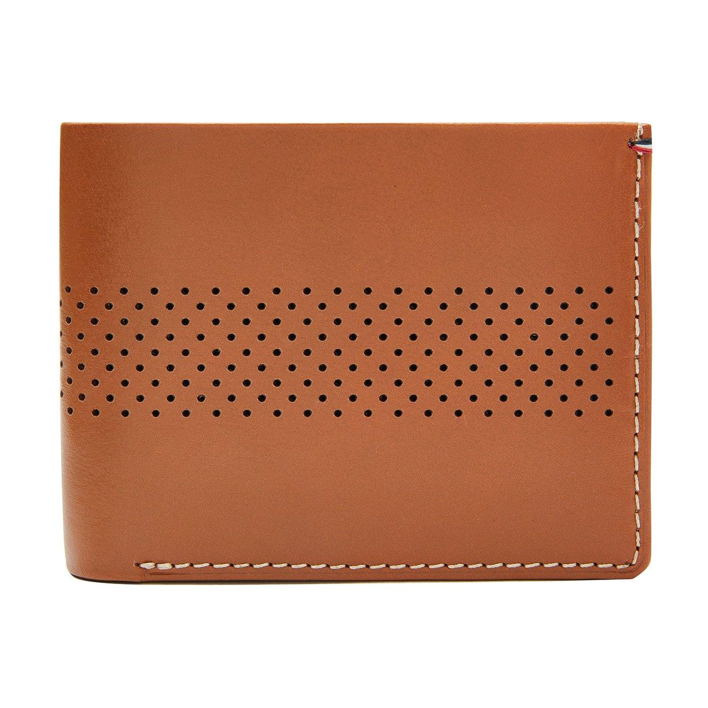 Jack Mason Tan Perforated Stripe Bifold Wallet