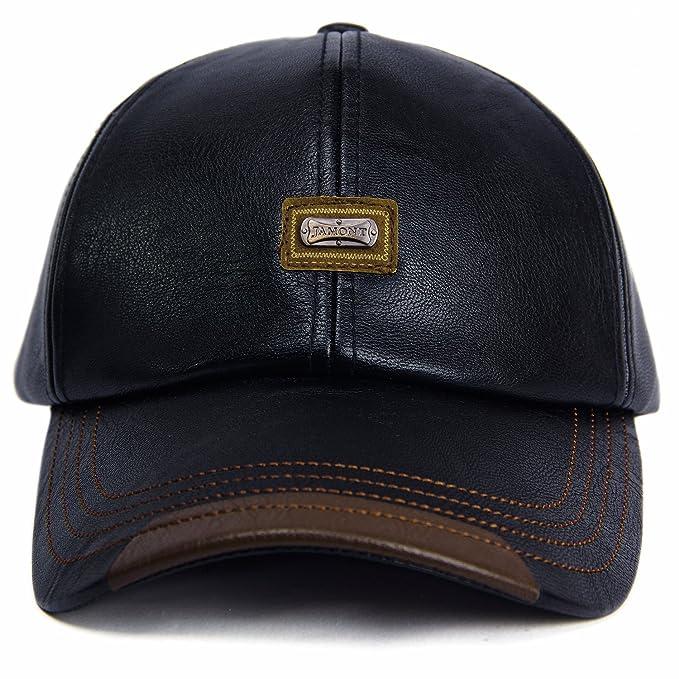804aca0dd24 GESDY Men's Vintage Adjustable PU Leather Baseball Cap Outdoor Sports  Driving Sun Hat