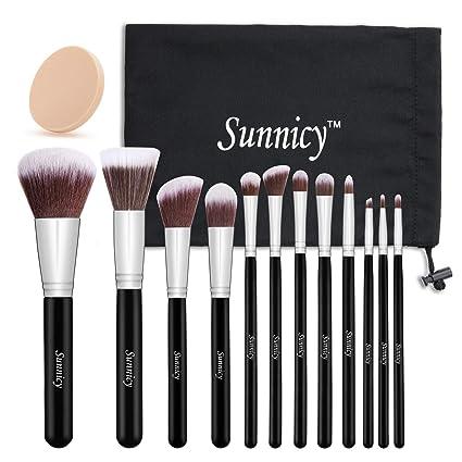 Kit de Pinceau maquillage Professionnel 12 PCS Ombre à Paupière Blush  Pinceau Poudre Fond de teint
