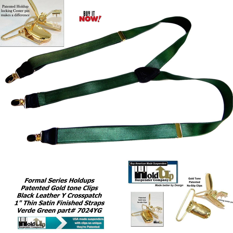 Holdup Brand Dark Verde Green 1 wide Satin finished Y-back Suspenders with No-slip Gold-tone Clips