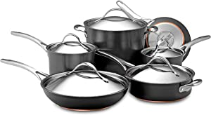 Anolon Nouvelle Copper Hard Anodized Nonstick Cookware Pots and Pans Set, 11 Piece, Dark Gray