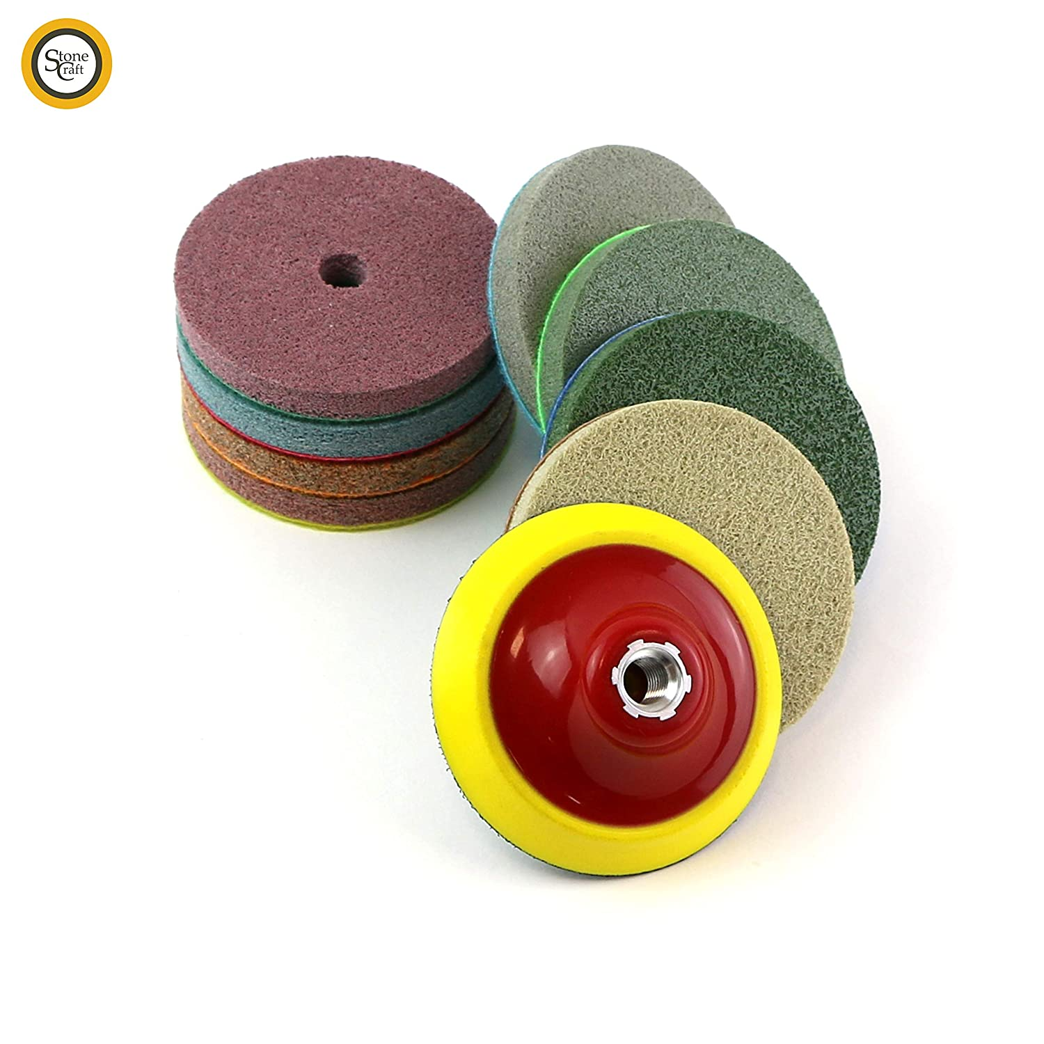Stonecraft Diamond Polishing Pads Set Wet//Dry 9 pcs 100mm 4 inch Backing Pad 5//8 for Marble