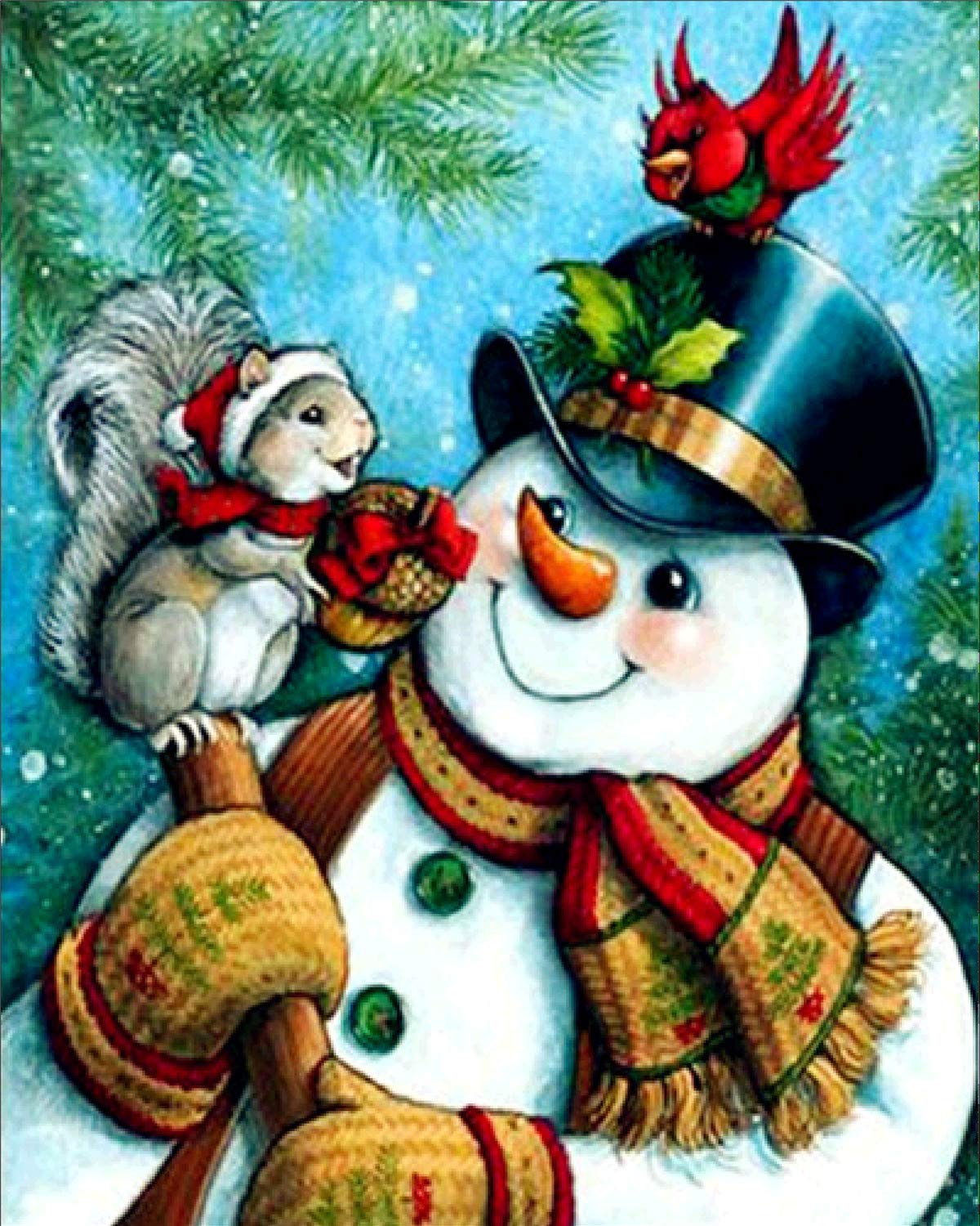 5D Diamond Painting Kits, Full Drill DIY Embroidery 3D Diamond Painting Wall Sticker for Home Decor - Snowman and Squirrel 12x16 EOBROMD