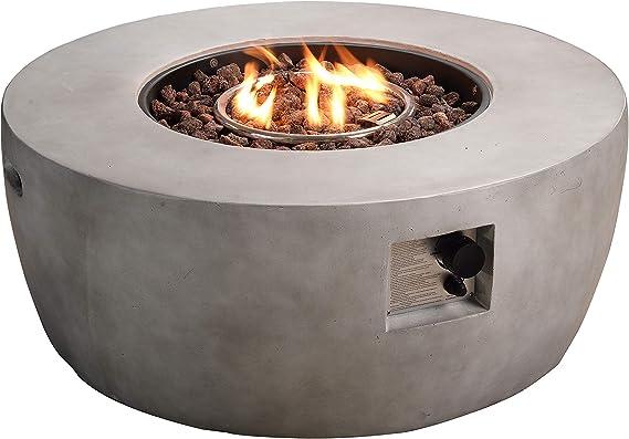 Peaktop Resina de Pozo de Fuego de Gas al Aire Libre con Roca de Lava y Cubierta HF36501AA-EU, Gris