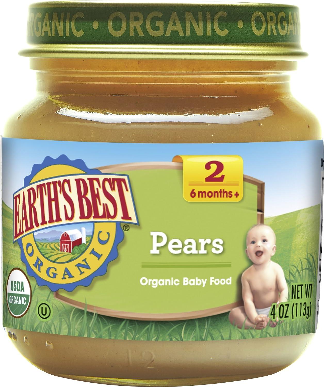 Earth's Best Organic Stage 2 Baby Food, Pears, 4 oz. Jar