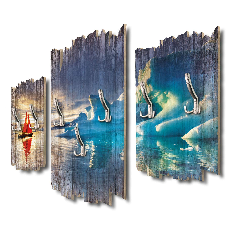 Kreative Feder Rotes Segelboot im Eismeer Designer Wandgarderobe Flurgarderobe Wandpaneele 95 x 60 cm aus MDF DTGH030