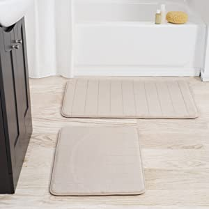 Lavish Home Set of 2 Microfiber Memory Foam Bath Mats – Plush Bathroom Rugs with Nonslip Back and Quick Drying Striped Pattern Top (Beige)