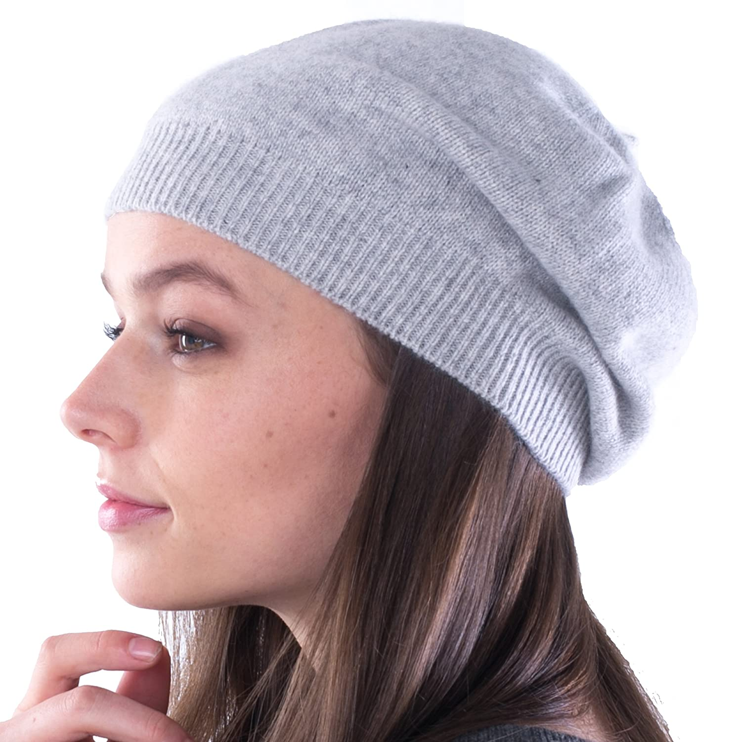 silver cashmere 4 U 100% Cashmere Beret Hat for Women