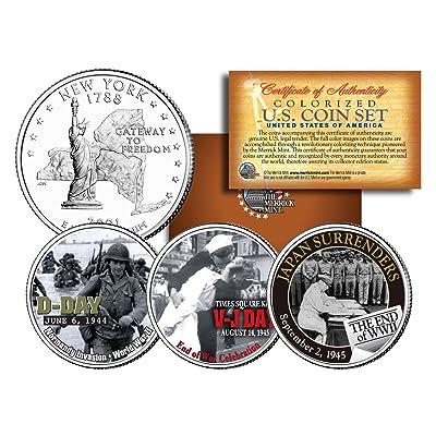WORLD WAR II 3-Coin Set NY Statehood US Quarters * D-DAY * V-J DAY * End of WWII: Everything Else