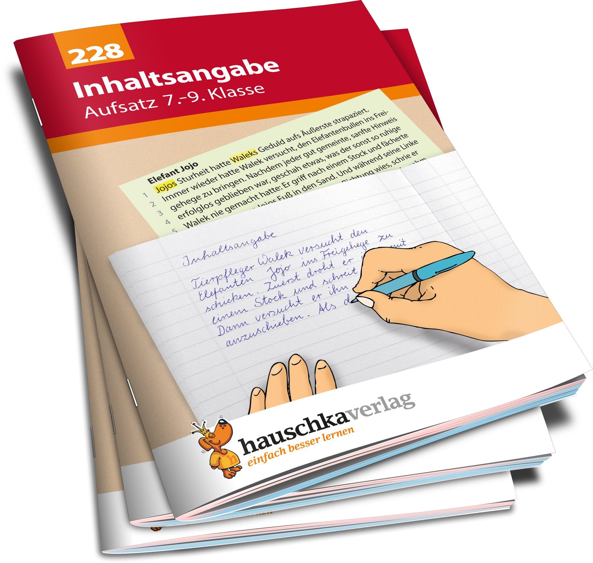 Inhaltsangabe Aufsatz 7 9 Klasse übungsprogramm Mit Lösungen Für