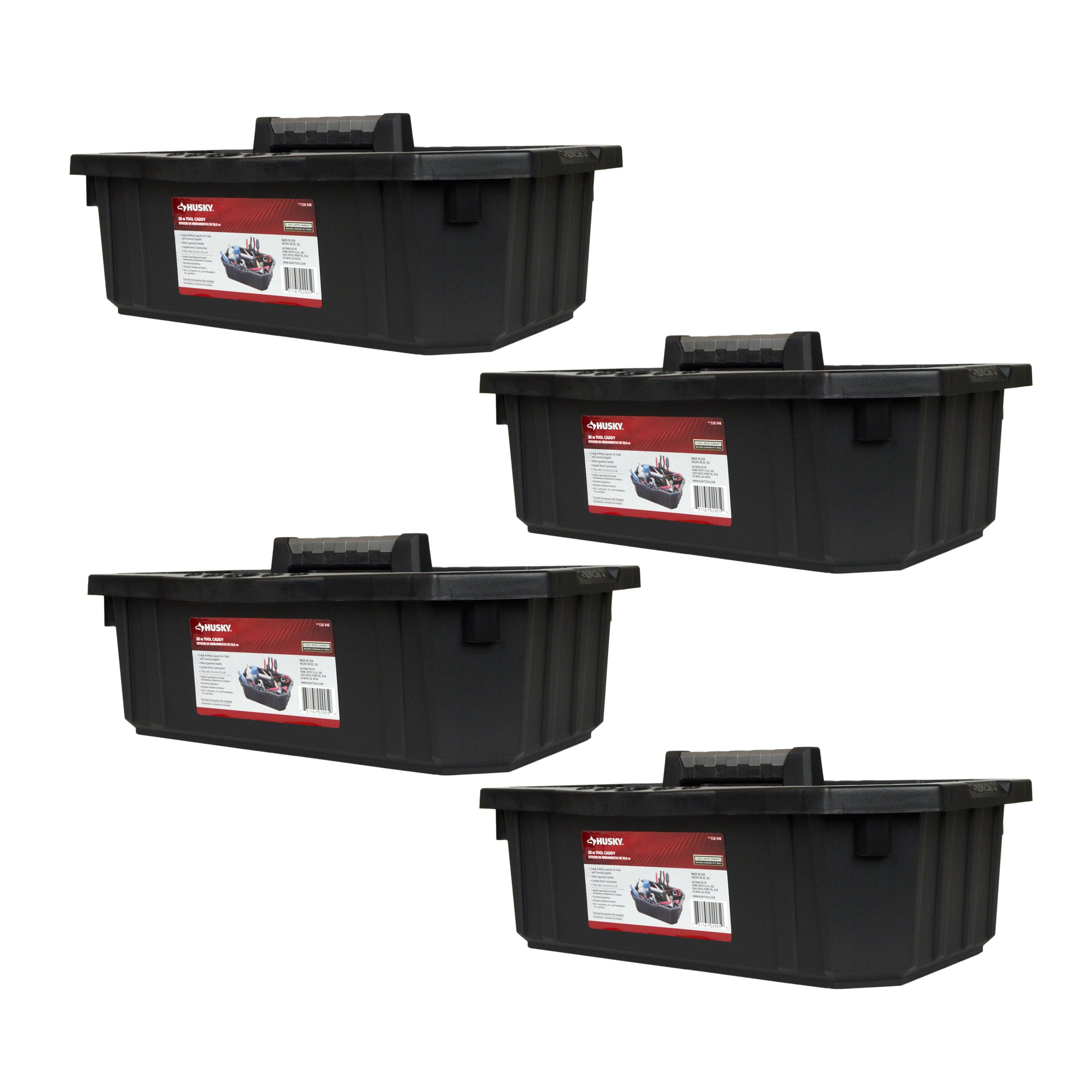 Husky 19.6'' x 3'' x 7.5'' Single Compartment Tool Organizer Caddy - 4 Pack