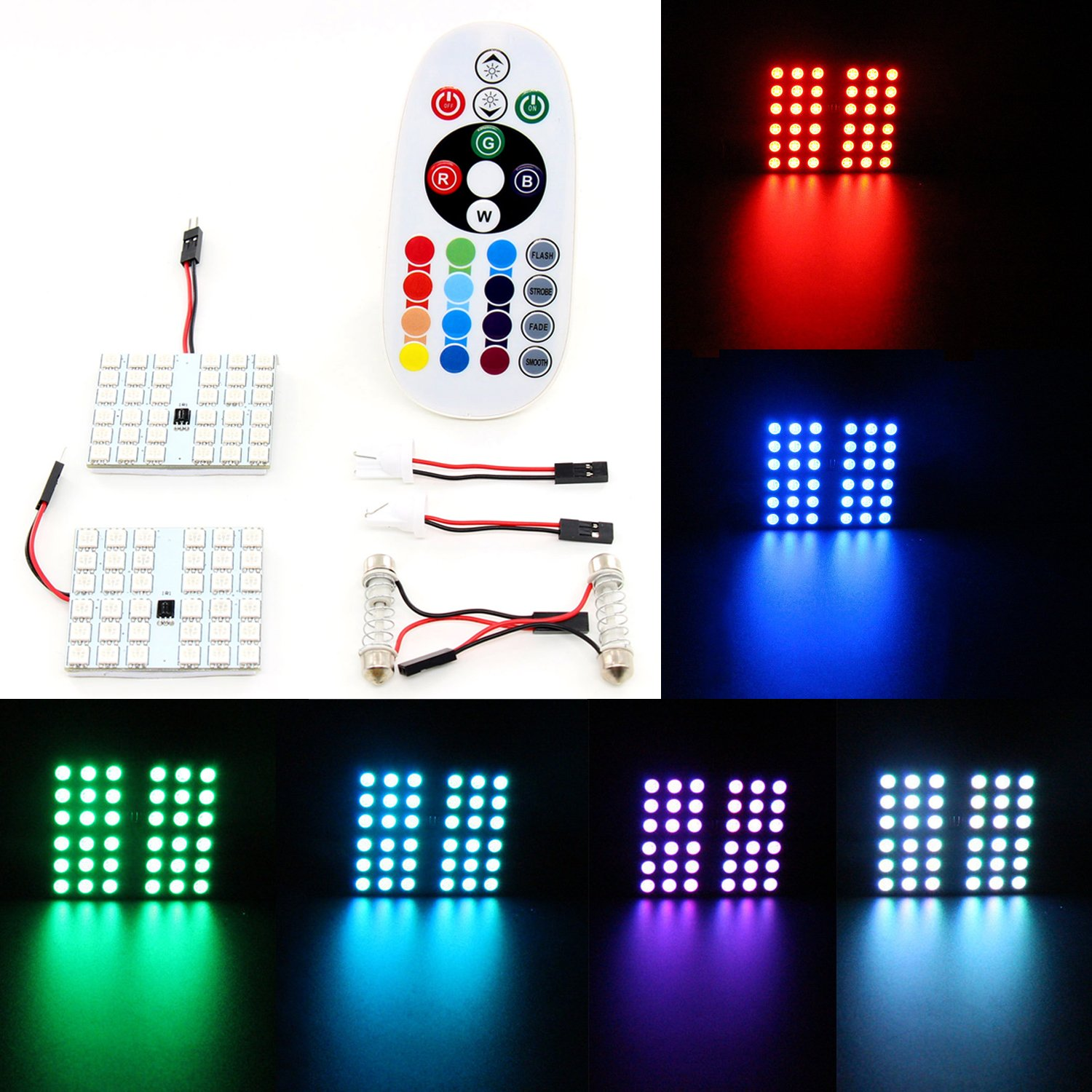Xcellent Global 12V Remote Controlled Car Interior Lights 36 SMD LED Car Lights RGB Neon Decoration Lamps AT018 S-AT018