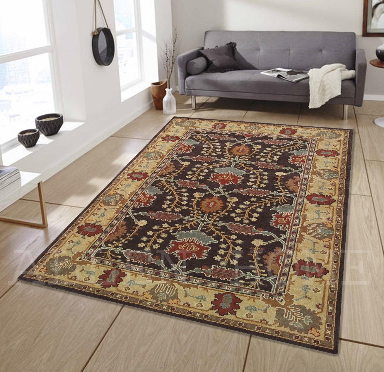 Allen Home Wool Rug 3X5 5X8 8X10 9X12 Allie Brown Tufted Art and Crafts Persian Traditional Wool Rug Carpet 5 X8