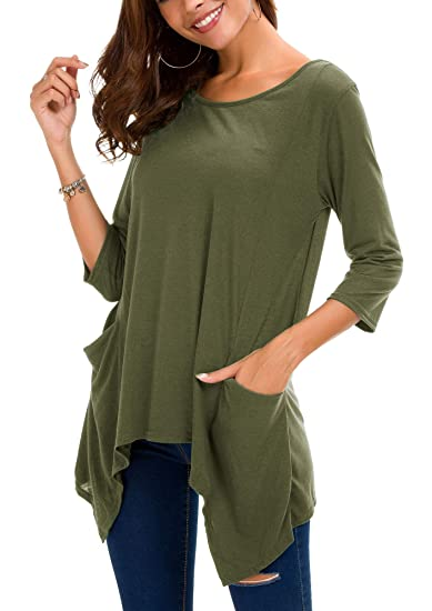 7498f5f2d2f Urban CoCo Women s Plus Size 3 4 Sleeve Tunic Tops for Leggings Loose  Pocket Shirt