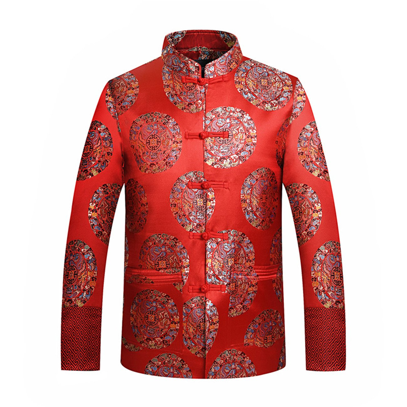 Men's O-neck Long Sleeve Stand Collar Chinese Style Disk Buckle Embroidery TangJackets(L,red)