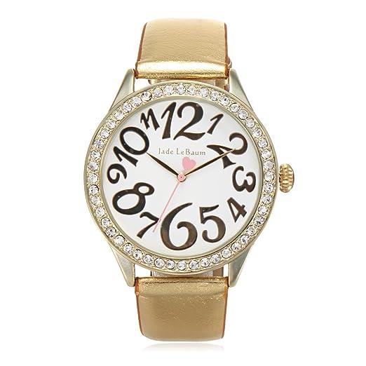 Mujer Moda Reloj Oro Tono Del Cuero De La Correa Blanco Redondo De La Cara De Cristal De Cuarzo Bisel Jade LeBaum - JB202866G: Jade LeBaum: Amazon.es: ...