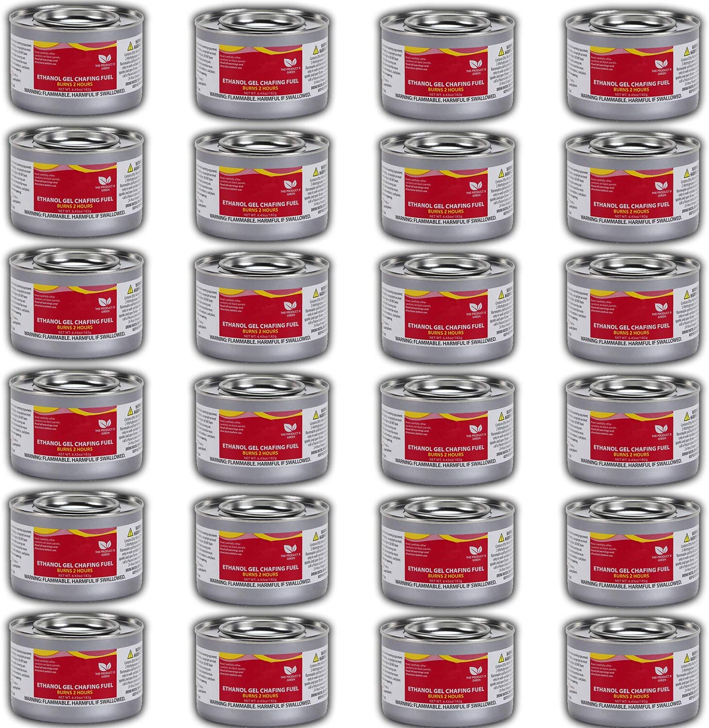 Chafing Dish Fuel Cans – Includes 24 Ethanol Gel Chafing Fuels, Burns for 2.5 Hours (6.43 OZ) for your Cooking, Food Warming, Buffet and Parties.