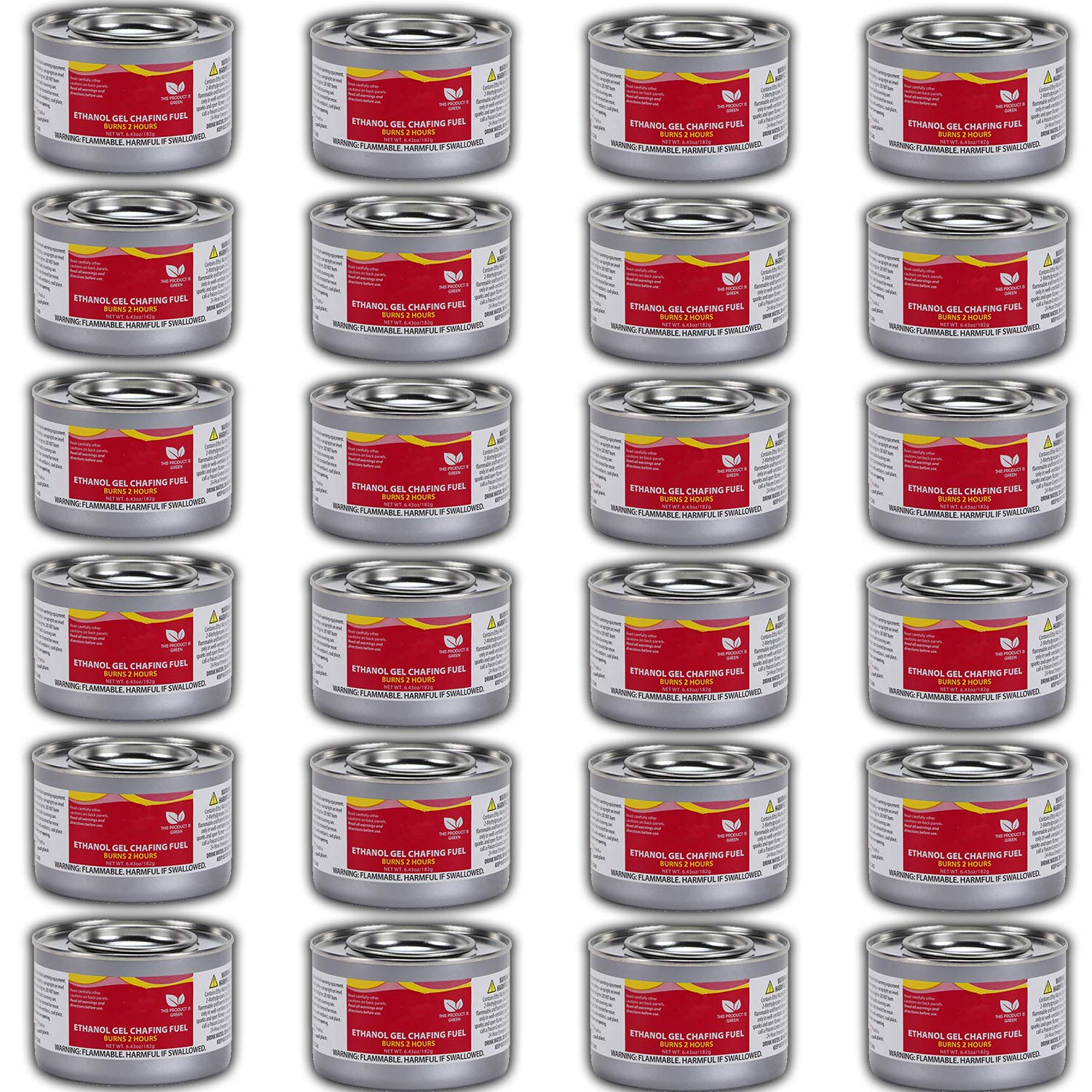 Chafing Dish Fuel Cans - Includes 24 Ethanol Gel Chafing Fuels, Burns for 2 Hours (6.43 OZ) for your Cooking, Food Warming, Buffet and Parties. by HeroFiber