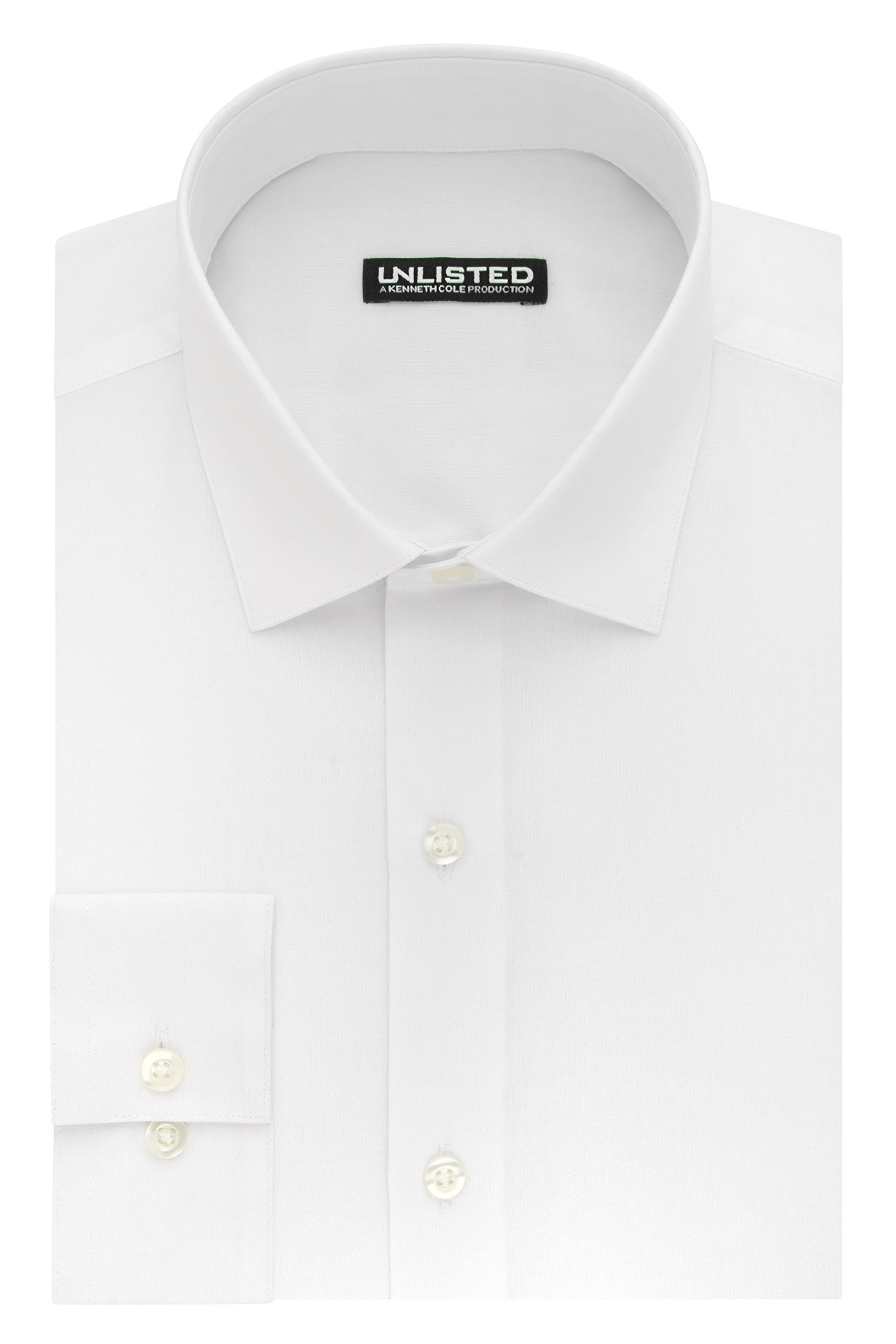 Kenneth Cole REACTION Unlisted by Men's Slim Fit Solid Spread Collar Dress Shirt, White, 18''-18.5'' Neck 34''-35'' Sleeve