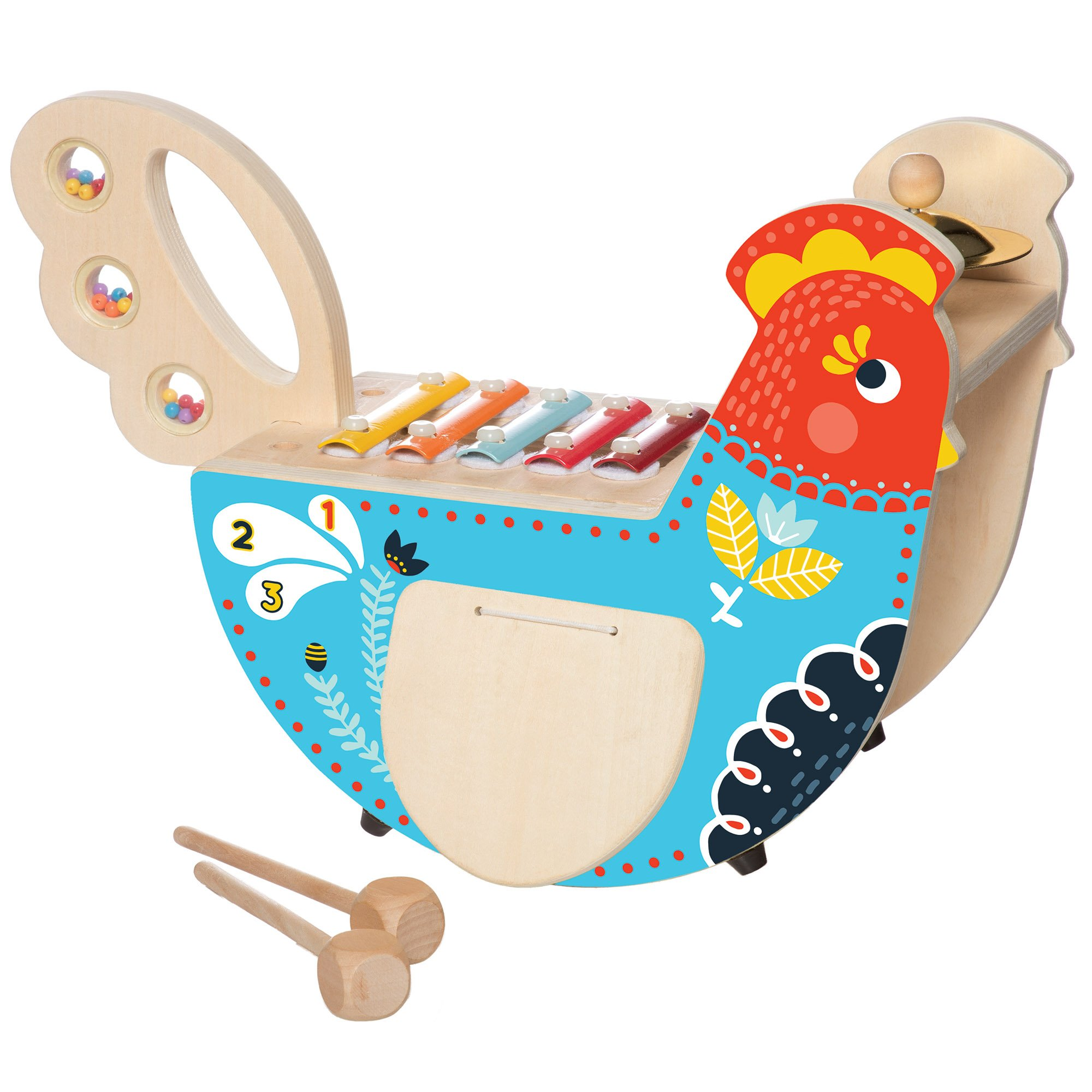 Manhattan Toy Musical Chicken Wooden Instrument for Toddlers with Xylophone, Drumsticks, Cymbal and Maraca by Manhattan Toy