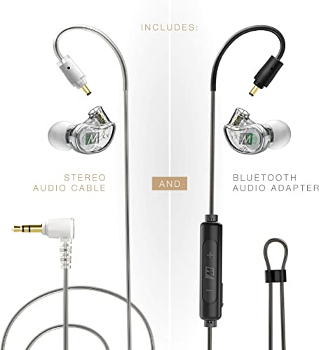 MEE audio M6 PRO 2nd Generation Musicians in-Ear Monitors Wired Wireless Combo Pack Includes Stereo Audio Cable and Bluetooth Audio Adapter Clear