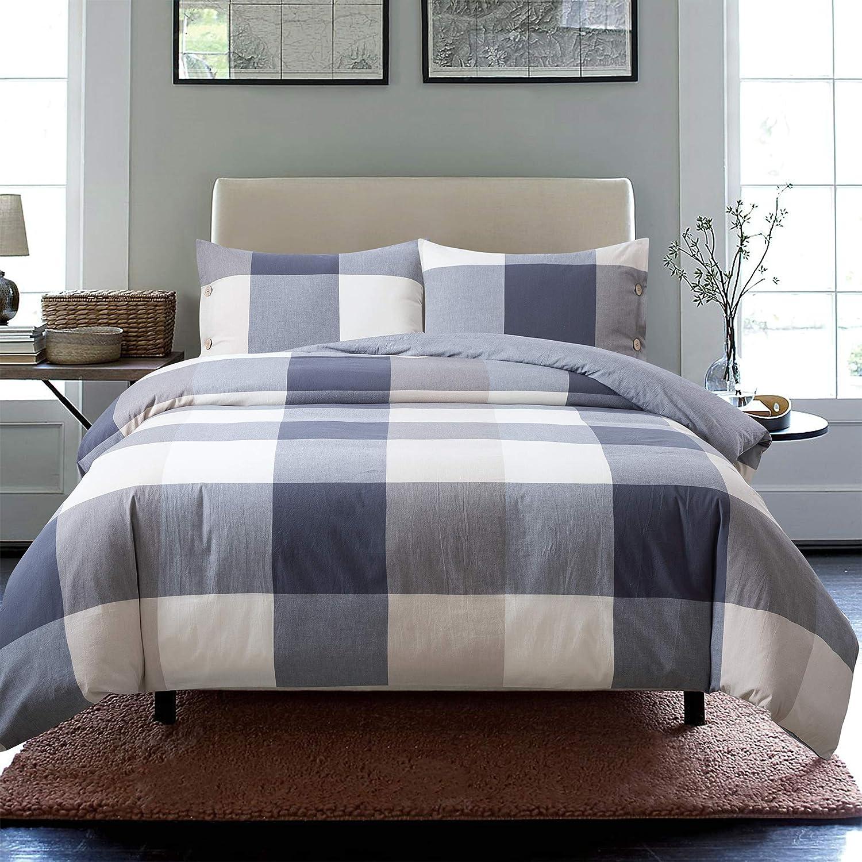 Grey Skies, Queen Solid Color Reversible Machine Washable Wood Button Closure Soul /& Lane 100/% Cotton 3-Piece Duvet Cover Set