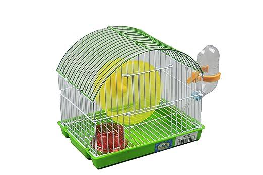 DZL Jaula para Hamster(21.5X16X19) Color Azul Rojo Naranja y Verde ...
