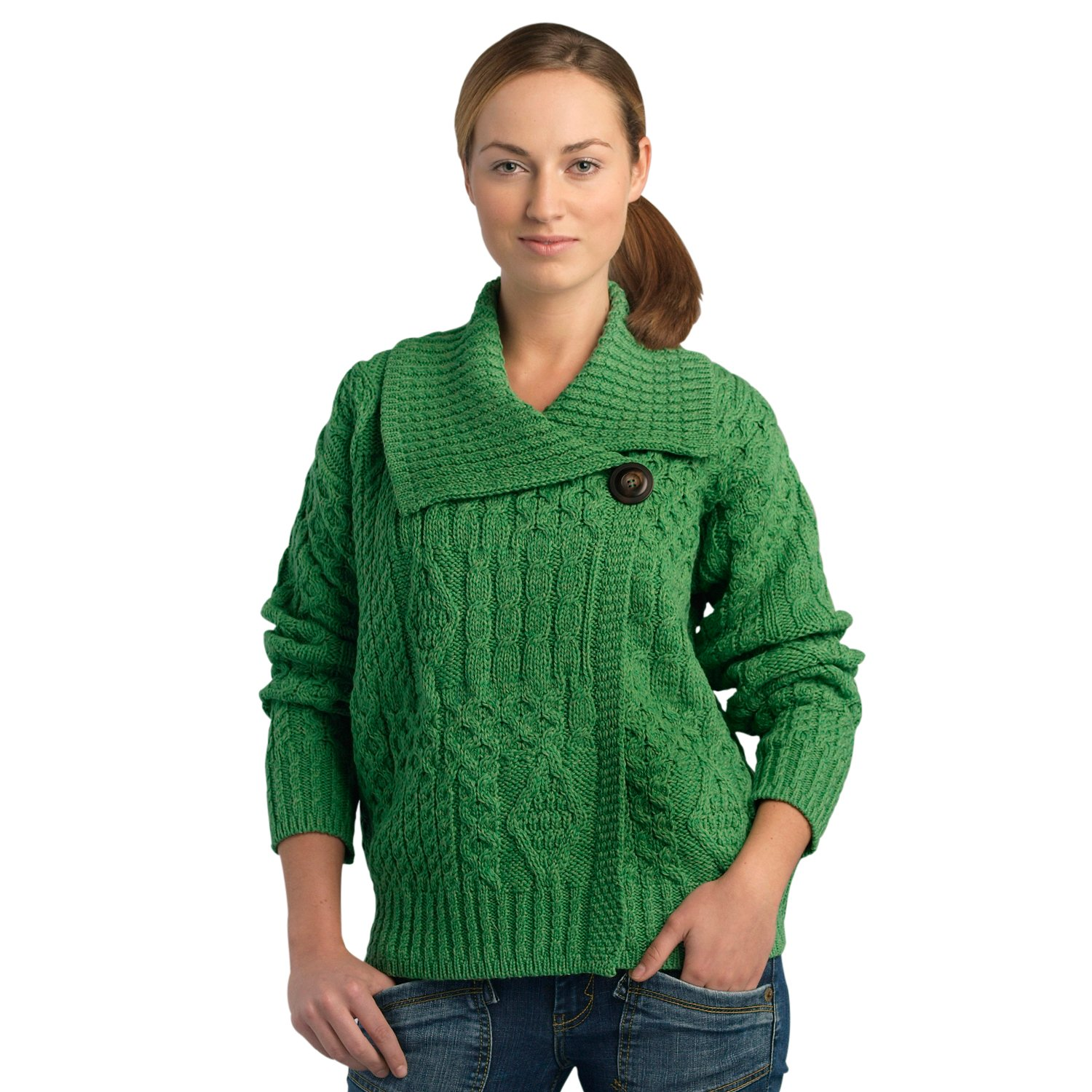 100% Soft Irish Merino Wool One Button Aran Ladies Sweater by West End Knitwear