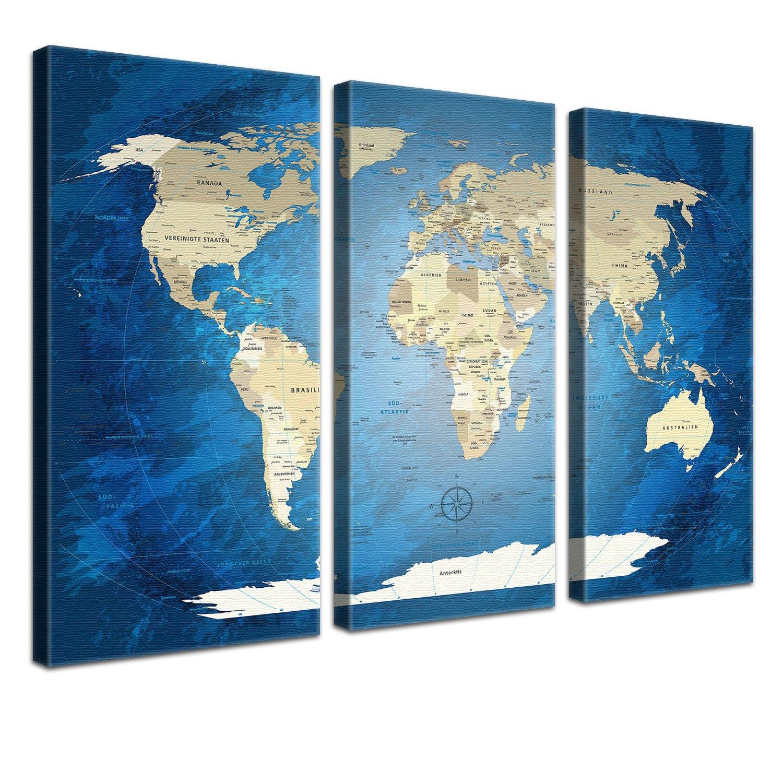 "LANA KK - Weltkarte Leinwandbild  ""World Map Blau Ocean  - deutsch - Kunstdruck-Pinnwand auf Echtholz-Keilrahmen – Globus in blau, dreiteilig & fertig gerahmt in 150x100cm"