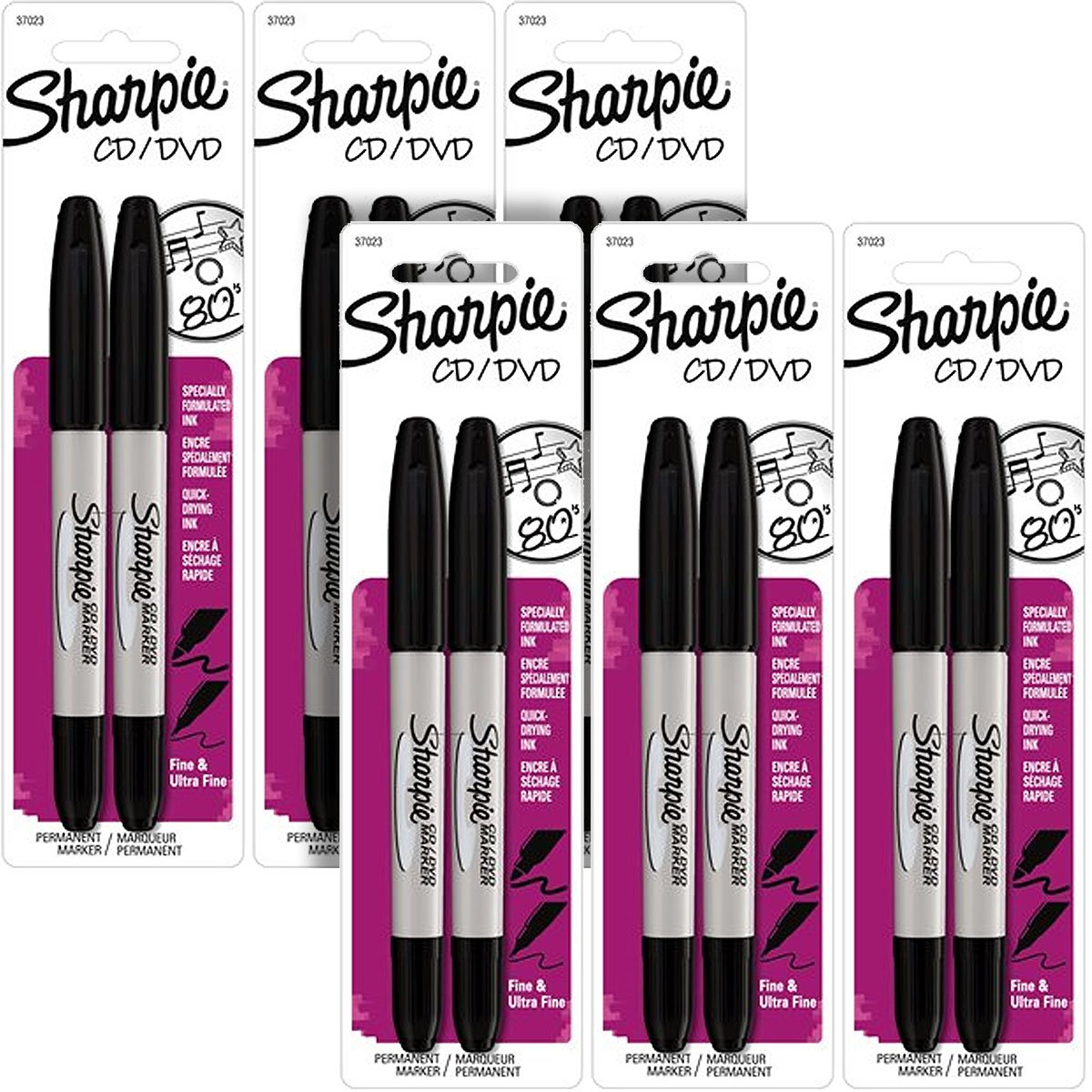 Sharpie CD/DVD Twin-Tip Permanent Markers, Fine/Ultra Fine Black Ink, Pack of 12