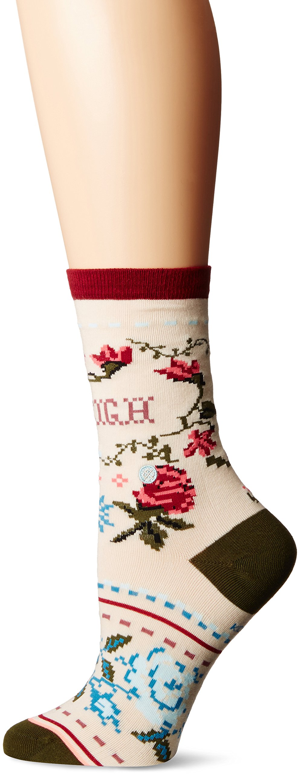 Stance Little Girls' Sleigh Ride Floral Snowflake Reinforced Toe Arch Support Crew Sock, Cream, L