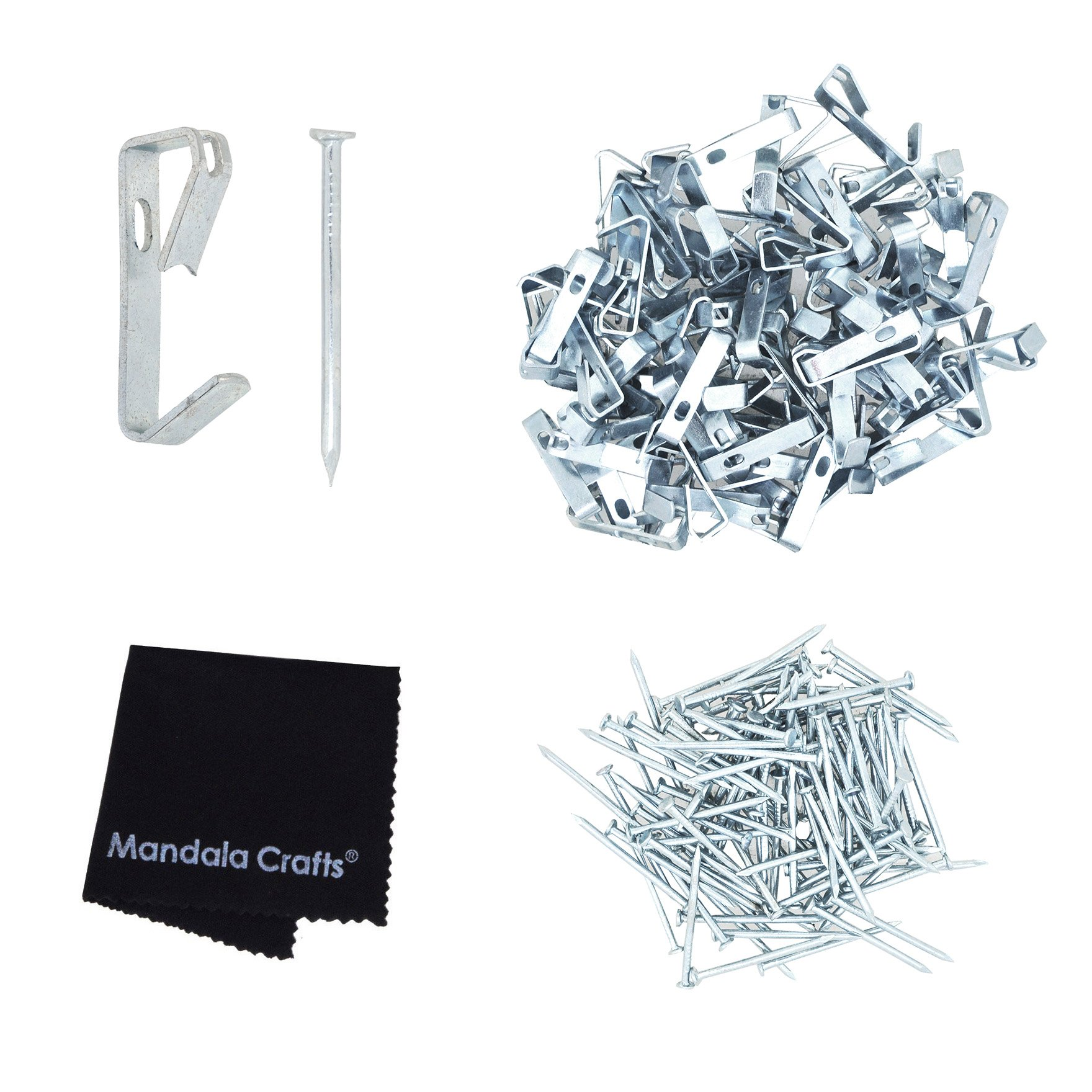 Mandala Crafts Heavy Duty 20 30 50 100 lbs Picture Hooks Hangers with Nails for Hanging on Wall (Small 100 PCs 20 pounds, Silver)