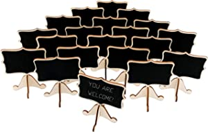 20 Pcs Wood Mini Chalkboard Signs with Support Easels, Place Cards, Small Rectangle Chalkboards Blackboard for Weddings, Birthday Parties, Table Numbers, Message Board Signs and Event Decorations