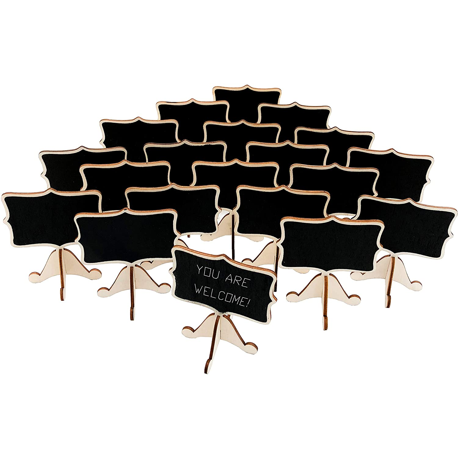 20 Pcs Wood Mini Chalkboard Signs with Support Easels, Place Cards, Small Rectangle Chalkboards Blackboard for Weddings, Birthday Parties, Table Numbers, Message Board Signs and Event Decorations Coofficer