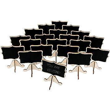 20 mini pizarras de madera con caballetes de apoyo, tarjetas ...