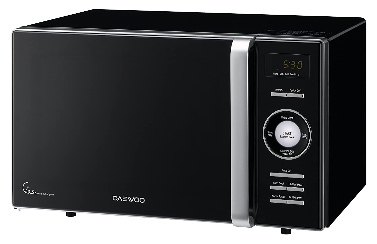 Daewoo KOG-8A6K Microondas, 23 litros, con Grill, Color Negro, 800 W