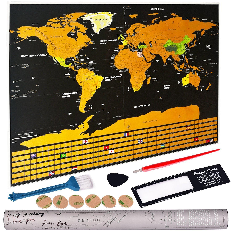 Gratta Mappa del mondo, Mappa del mondo Poster con tutte le bandiere di paesi, 32X23 Deluxe Edition mondo Scratch mappa include Scratcher e lente d'ingrandimento Ouken