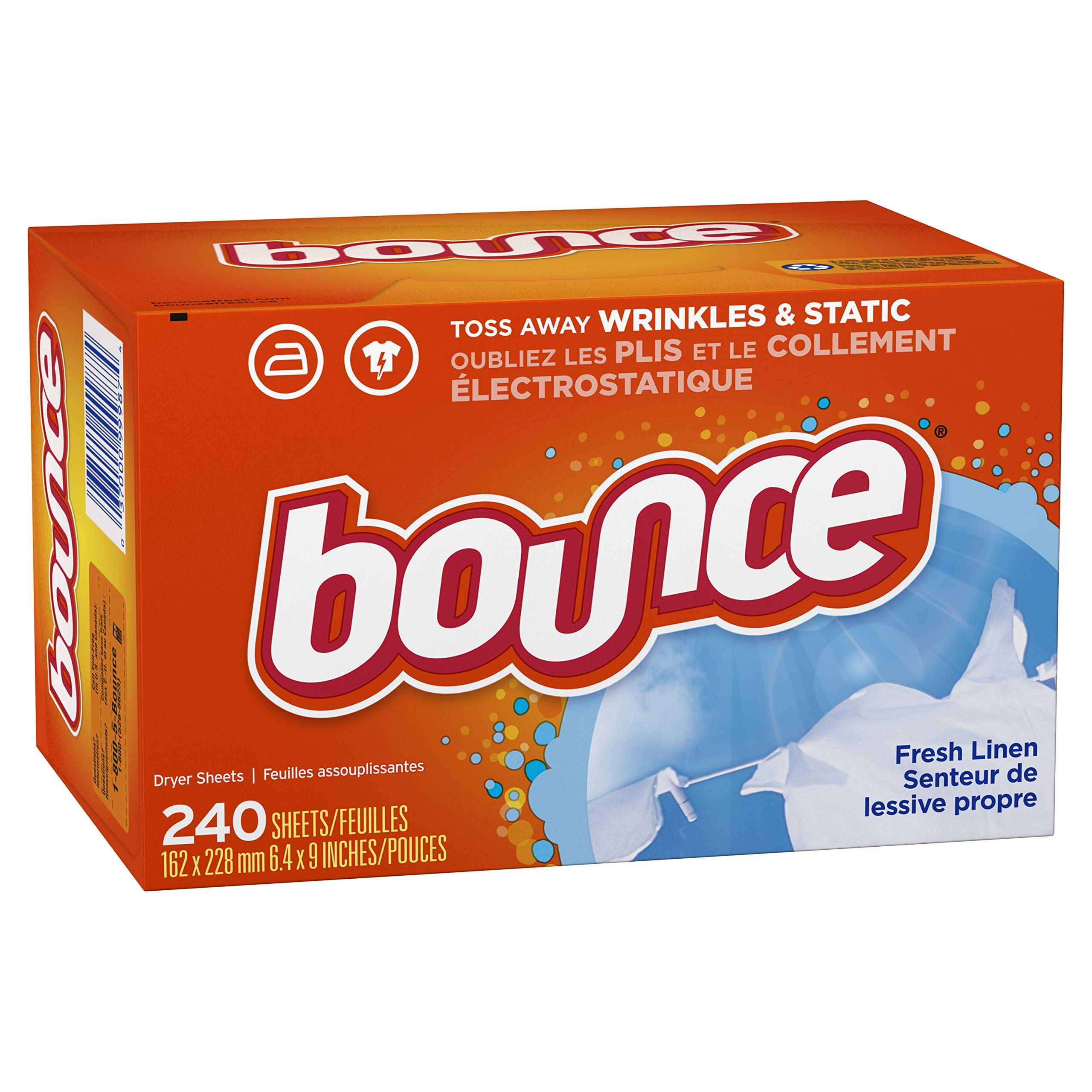 Bounce Fresh Linen Scented Fabric Softener Dryer Sheets, 240 Count (3 Pack(240 Count))