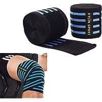 KYLIN SPORT 2pcs Bande de Genou 200cm Ceinture Bandage Protège Genou Elastique et Réglable Genouillère pour Crossfit Musculation Powerlifting Entraînement
