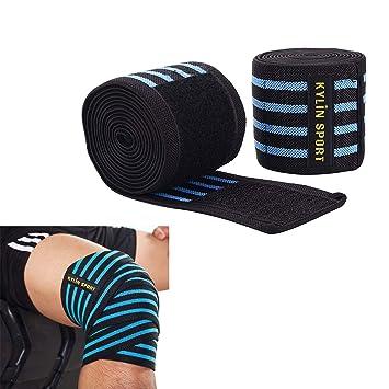 KYLIN SPORT 2 Pièces Paire de Protège de Genou 200cm Ceinture Bandage  Protecteur Elastique et Réglable 1a081c3fa29