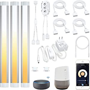 Smart Under Cabinet LED Lighting Strip Lights,Alexa,Echo,Google Home,APP Compatible Devices,2700k to 6500k White Adjustable,Dimmable Kitchen Counter,Book Case,Workbench,Shelf,Backsplash Light,3pcs