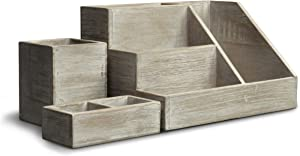 3 Piece Rustic Wooden Desk Organizer Set- Rustic Whitewashed Mail Organizer for Desktop - Great for Rustic or Industrial Home Decor! Rustic Makeup Organizer for Vanity…