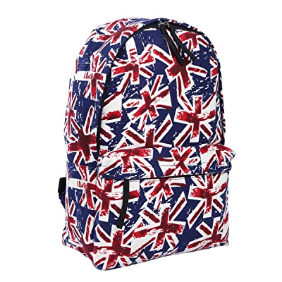 good Premium Vintage Union Jack UK Flag Canvas Backpack School Shoulder Bag -2 Colors