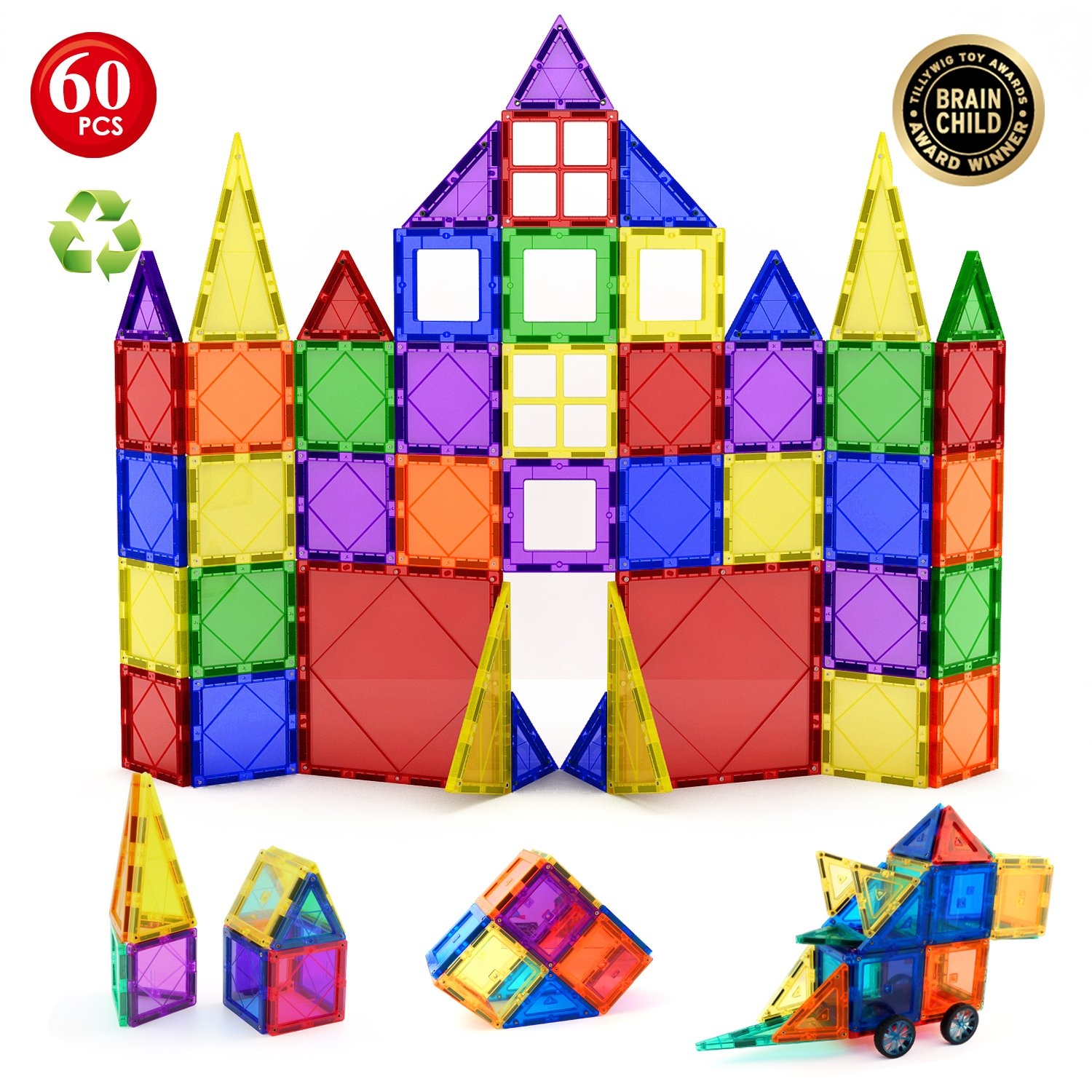 Children Hub 60pcs Magnetic Tiles Set - 3D Magnet Building Blocks - Premium Quality Educational Toys for Your Kids - Upgraded Version with Strong Magnets - Creativity, Imagination, Inspiration Shoppers Smart 5264841